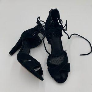 Gianni Bini black suede ankle tie heels